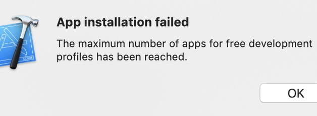 Xcode free development has been reached (Flutter)